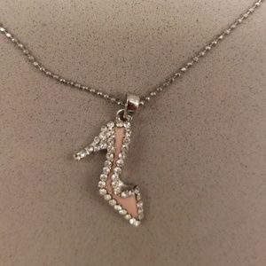Cute rhinestone & enamel high heel shoe necklace